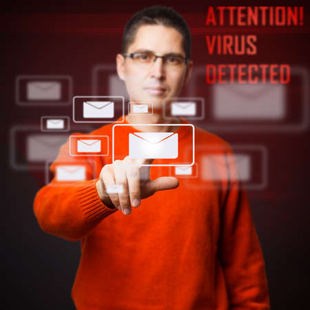 detected: Virus detected message on digital interface Stock Photo