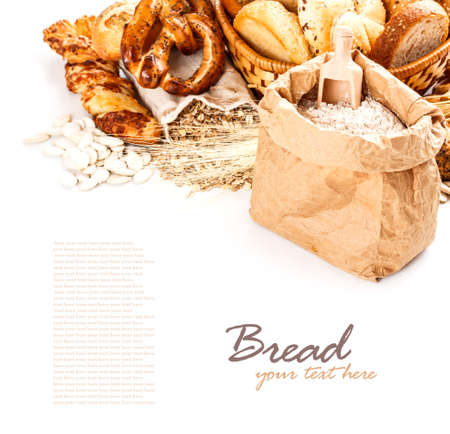 Different types of bread with space for text photo
