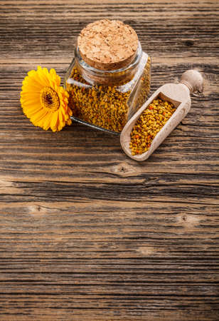 Pollen granules in glass jar Stock Photo - 17653010