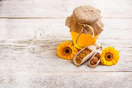 Honey, pollen and propolis composition Stock Photo - 17653101