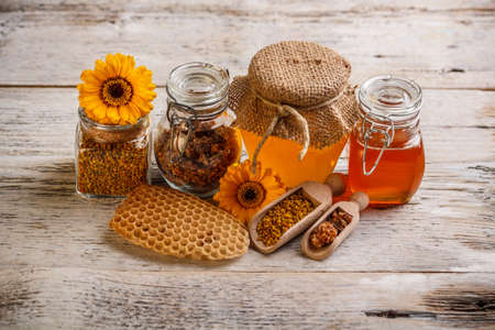 Composition of honey, pollen and propolis Stock Photo - 17653114