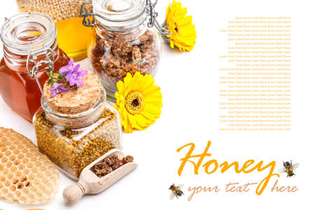 Still life of jars of honey, pollen and propolis Stock Photo - 17783885