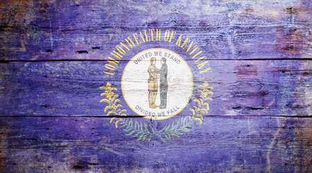 kentucky: Flag of Kentucky painted on grungy wooden background