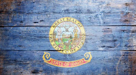 Flag of the state of Idaho painted on grungy wooden background Stock Photo - 17787759