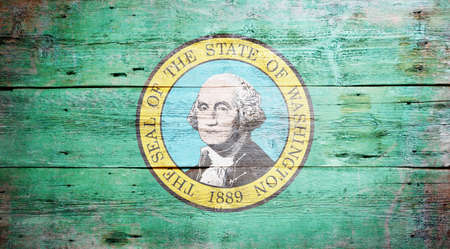 Flag of the state of Washington painted on grungy wooden background Stock Photo - 17787761
