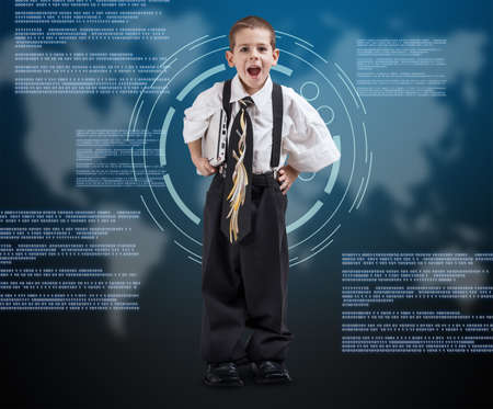 touch screen interface: Portrait of a boy wearing oversized clothes on digital background