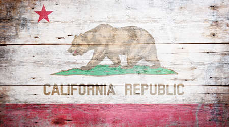 Flag of California painted on grungy wooden background Stock Photo - 17787752