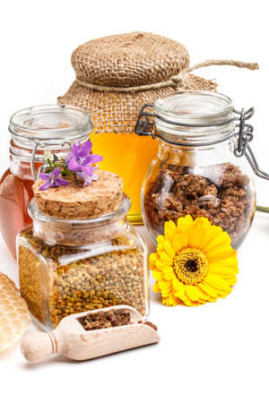 Composition of honey, pollen and propolis Stock Photo - 17787683