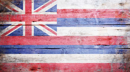 hawaii flag:  Flag of the state of Hawaii painted on grungy wooden background