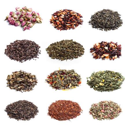 Colección de té seco en el fondo blanco Foto de archivo