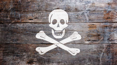 The traditional Jolly Roger flag of piracy painted on grungy wood plank background  photo