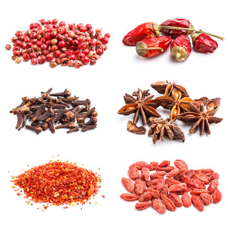 Collection of spices on white background