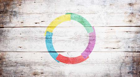 汚れた木製板の背景に描かれた、フランコフォニー国際組織の旗 写真素材