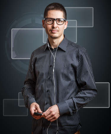 Business man and virtual button Stock Photo - 18136867