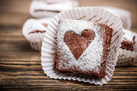Chocolate brownies with heart shapes