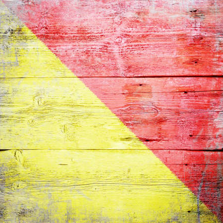 Oscar, international maritime signal flag painted on grungy wood plank background  Stock Photo - 18155701