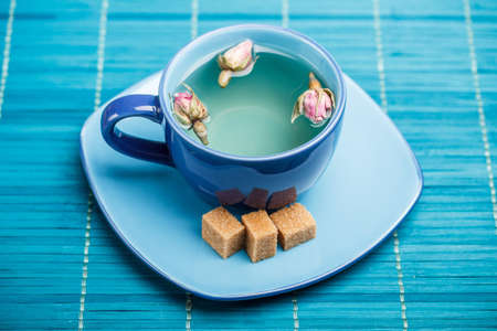 Blue tea cup with saucer  photo