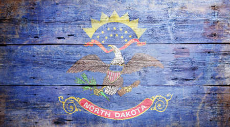 Flag of the state of North Dakota painted on grungy wooden background Stock Photo - 18254671