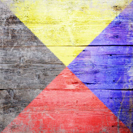 Zulu, international maritime signal flag painted on grungy wood plank background  photo
