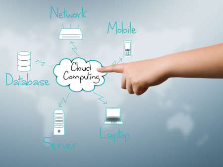 Woman hand touch cloud computing network diagram  Stock Photo - 18254623