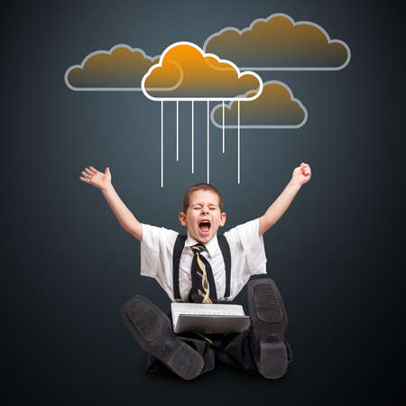 triumphing: Triumphing young businessman with cloud computing