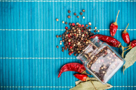 Mix of peppercorns in glass jar photo