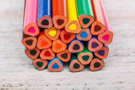 The ends of multicolored pencils photo