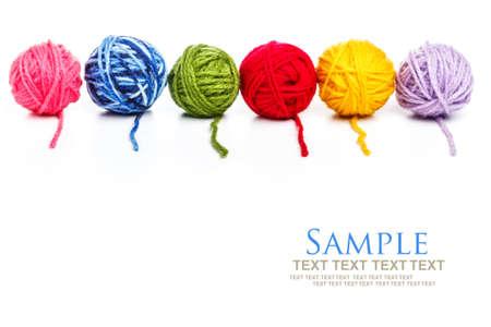 Six colors of yarn balls