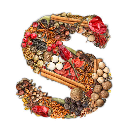 Letter S made of spices isolated on white background  photo