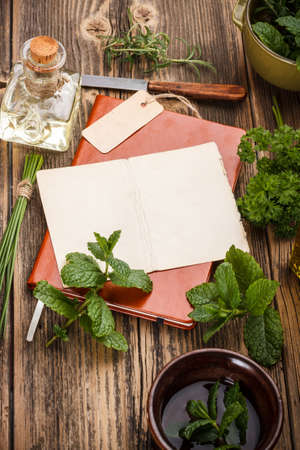 Blank note paper with fresh herbs  photo