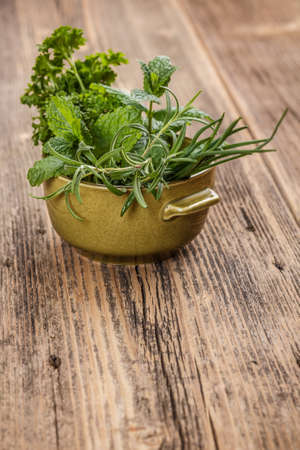 Fresh different herbs in green bowl photo