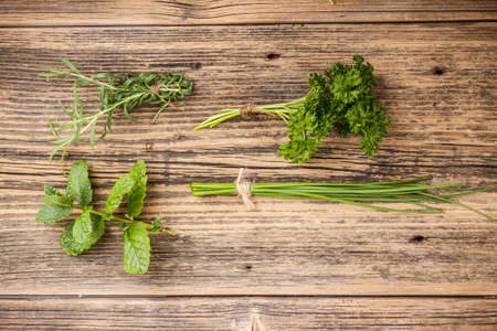 Set of green herbs on rustic wooden background Stock Photo - 18991146