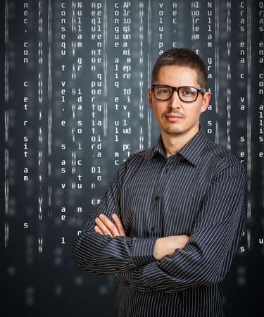 Image of business person with digital code photo