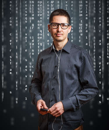 Portrait of business person with digital code photo