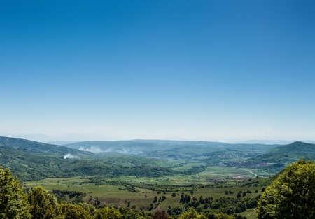 rumania: Panorama of the countryside in Transylvania Stock Photo
