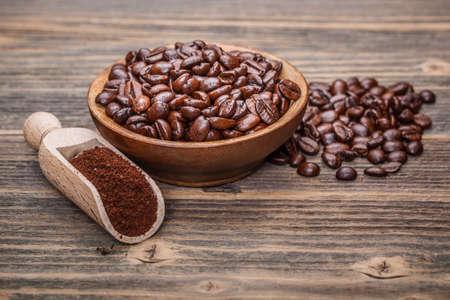 Ground coffee and coffee beans photo