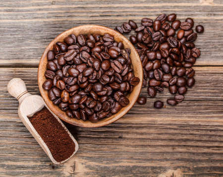 Milled coffee and coffee beans photo