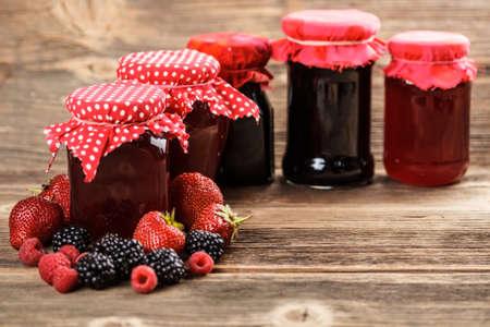 fruity: Different jars full of fruity jam Stock Photo