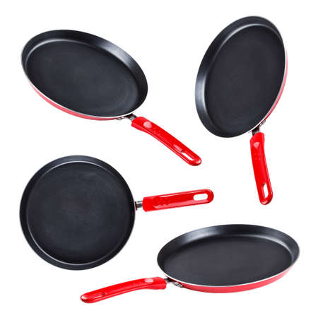 adherent: Collection of frying pan isolated on white background  Stock Photo