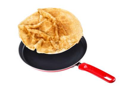 Homemade pancake in a frying pan