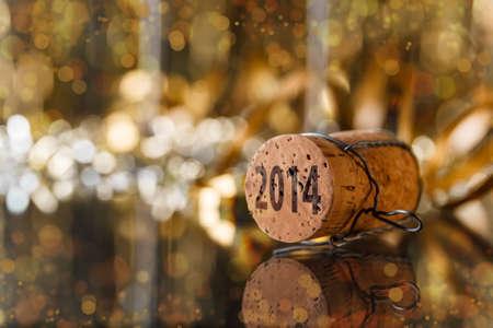 香檳瓶塞新的一年2014 版權商用圖片