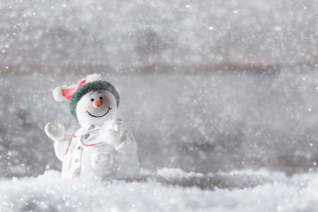 Christmas decoration, snowman doctor in snow photo