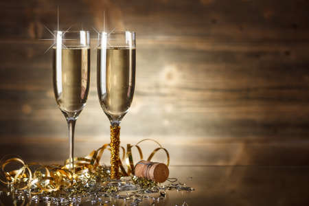 new years eve: New Year Celebration with two champagne glasses