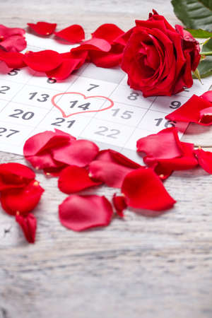 Calendar page with a detail of the valentine day photo
