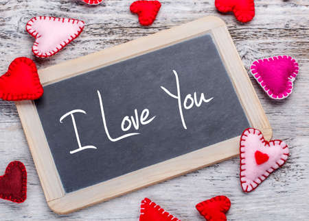 I Love You. Handwritten message on a chalkboard photo