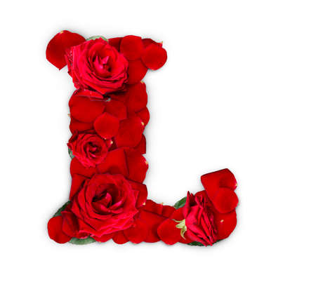 Letter L made from red roses and petals isolated on a white background  Stock Photo