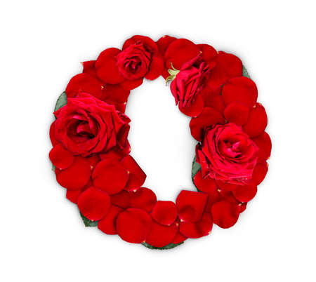 Letter O made from red roses and petals isolated on a white background