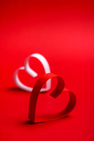creative design: Two valentines paper hearts with space for text