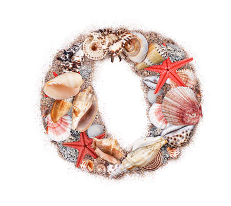Letter O made of seashell isolated on white background