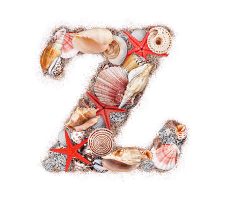 Letter Z made of seashell isolated on white background photo